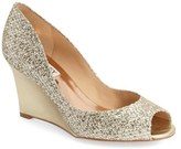 Badgley Mischka Women's 'Awake' Embellished Peep Toe Wedge Pump
