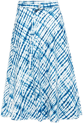 DKNY Belted Tie-dyed Linen Midi Skirt