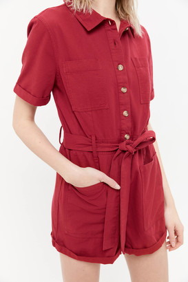 Urban Outfitters Carmen Belted Button-Front Romper