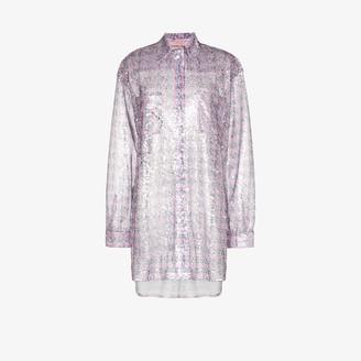 Natasha Zinko Sheer Sequin Houndstooth Shirt