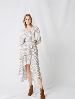 Maje Striped smocked dress with ruffles