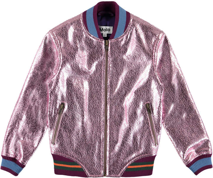 6205e919b Hollis Metallic Cracked Leather Bomber Jacket, Size 4-14
