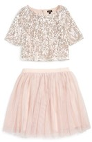 Girl's Zunie Sequin 'Meet & Greet' Top & Tulle Skirt Set