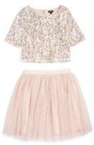 Zunie Sequin 'Meet & Greet' Top & Tulle Skirt Set (Big Girls)