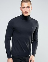 Pretty Green Jumper With Roll Neck In Slim Fit Black