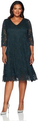 Junarose Women's Plus Size Three Qaurter Sleeve Lace Dress