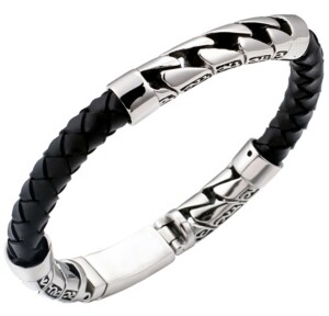 Sutton by Rhona Sutton Sutton Stainless Steel Filigree And Braided Leather Bracelet