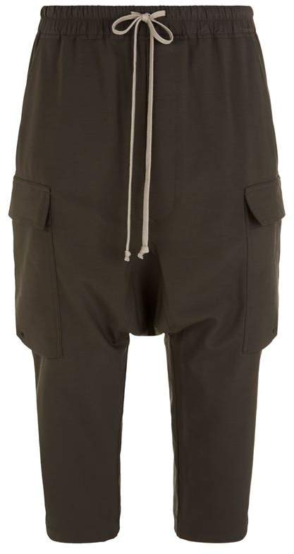 Rick Owens Cropped Drop Crotch Cargo Trousers