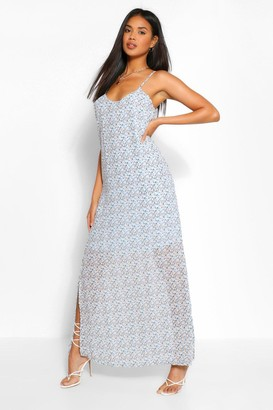 boohoo Plunge Back Strappy Ditsy Floral Maxi Dress