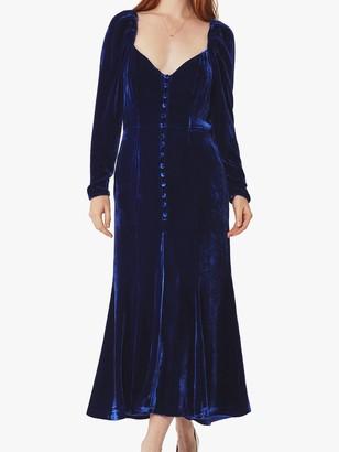 Ghost Sydney Silk Velvet Dress, Cobalt Blue