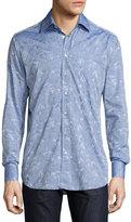 Etro Mermaid Jacquard Sport Shirt, Light Navy Blue