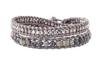 Chan Luu Mineral Stone & Silvertone Nugget Beaded Genuine Leather Wrap Bracelet ()