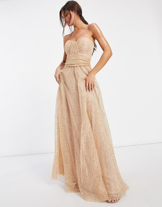 Goddiva bandeau embellished mesh maxi dress in champagne
