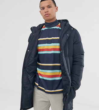 French Connection Tall longline padded hooded parka-Blue