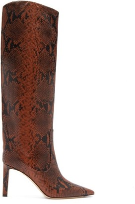 Jimmy Choo Mavis 85 Python-effect Leather Knee-high Boots - Tan