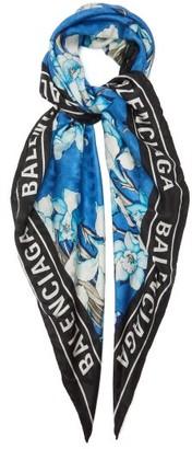 Balenciaga Floral And Logo-print Silk Scarf - Blue Print