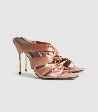 Reiss Monroe - Satin Pin-heel Mules in Blush