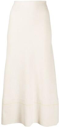 Victoria Beckham High-Rise Flared Knitted Midi Skirt