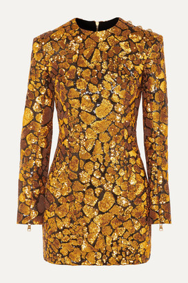 Balmain Button-embellished Sequined Crepe Mini Dress - Gold