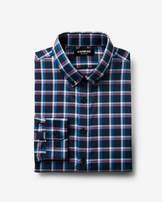 Express slim plaid print performance dress shirt