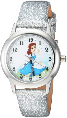 Disney Girls Princess Belle Stainless Steel Analog-Quartz Watch with Leather-Synthetic Strap