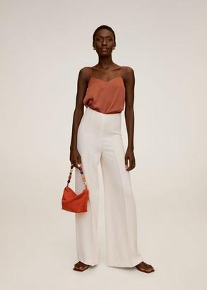 MANGO Satin top off white - XS - Women