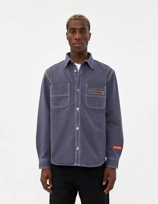 Heron Preston Uniform Denim Shirt in Dusty Blue