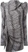 Saint Laurent puff sleeve printed dress - women - Silk - 38