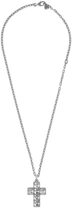 Gucci Men's Sterling Silver Cross Necklace w/ Synthetic Stones