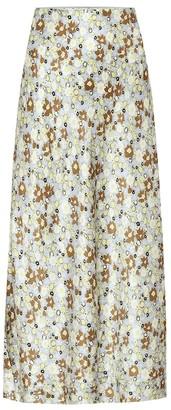 Lee Mathews Bella floral silk-satin midi skirt