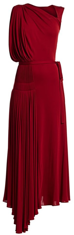 Oscar de la Renta Sleeveless Asymmetric Draped Gown