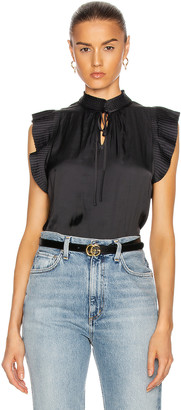 Frame Pleated Sleeveless Keyhole Top in Noir | FWRD