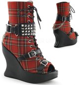 "Demonia BRAVO-89 Women's Hot Fashion 5"" Wedge Platform, Lace Up Calf High Boot, Color:, Size:9"