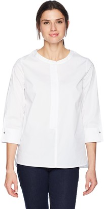 Chaus Women's Split Sleeve Zip Front Poplin Shirt