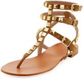 Ash Mumbaia Suede Studded Flat Sandal, Brown/Multi