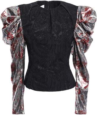 Marques Almeida Marques' Almeida Gathered Metallic-paneled Jacquard Top
