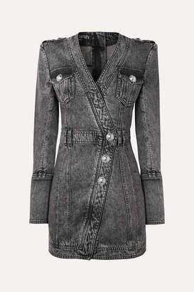 Balmain Button-embellished Acid-wash Denim Mini Dress - Gray