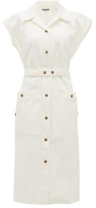 Symonds Pearmain - Belted Cotton-gabardine Dress - White