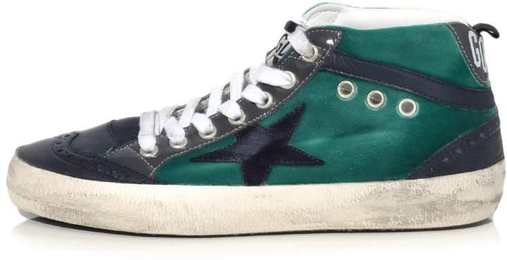 Golden Goose Mid Star Sneakers in Emerald Velvet with Blue Star