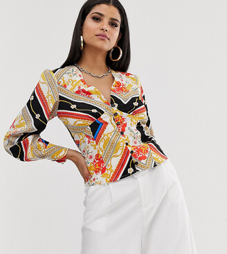 Outrageous Fortune Tall button through blouse in scarf print