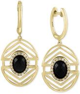 Effy Eclipse by Onyx (2-1/3 ct. t.w.) and Diamond (1/6 ct. t.w.) Openwork Geometric Drop Earrings in 14k Gold