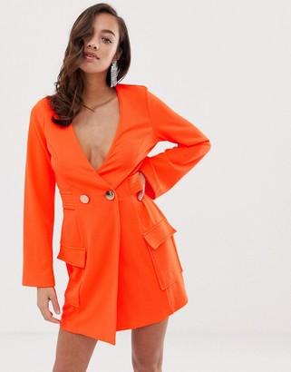 ASOS DESIGN Fluoro tux dress with button detail