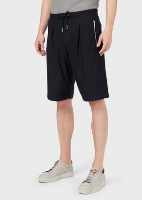 Giorgio Armani Honeycomb Stretch Jersey Bermuda Shorts