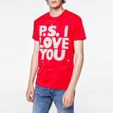 Paul Smith Men's Red 'P.S. I Love You' Print Organic-Cotton T-Shirt
