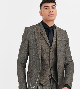 Twisted Tailor Tall super skinny suit jacket in herringbone