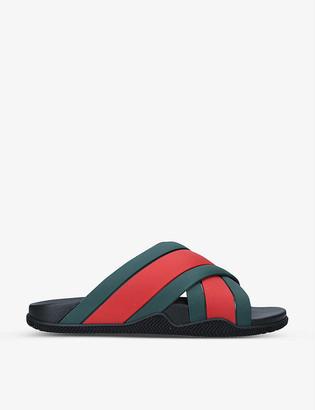 Gucci Web stripe rubber sliders