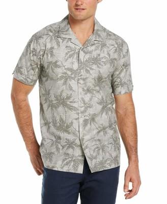 Cubavera Collection Camp Collar Textured Palm Print Shirt