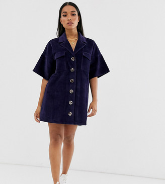 Asos DESIGN Petite cord shirt dress in blue