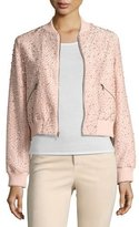 Alice + Olivia Demia Embellished Silk Cropped Bomber Jacket, Light Pink