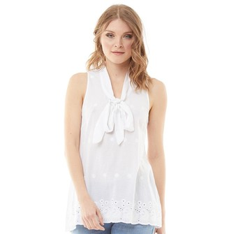 Onfire Womens Embroidered Pussybow Blouse White